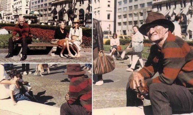 Роберт Энглунд на съемках фильма «Кошмар на улице Вязов 2: Месть Фредди», 1985 год.