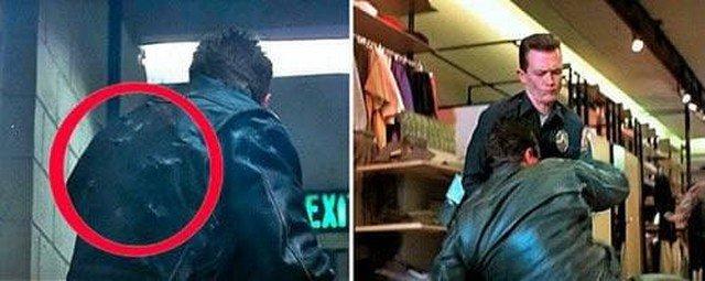 """""""Терминатор 2: Судный день"""": Терминатор прикрывает Джона от обстрела и в итоге вся его спина изрешечена пулями? А на следующем кадре кожанка, как новая."""