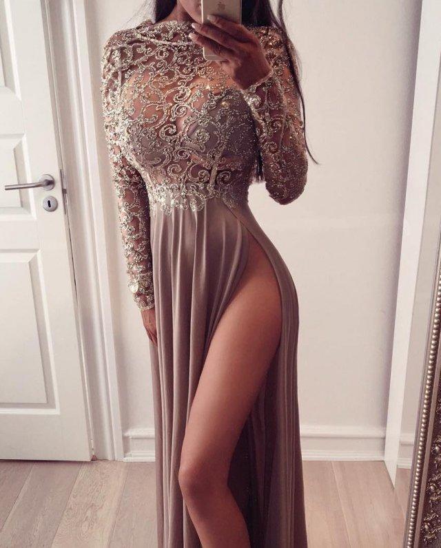 Платья с высокими разрезами. Часть 11