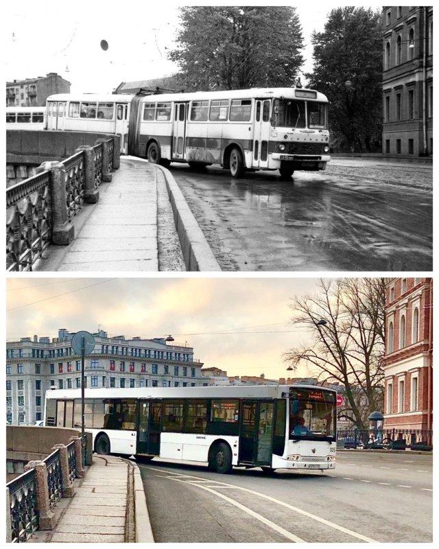 Автобус у Поцелуева моста.1975 и 2020 год.