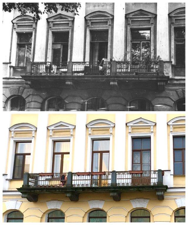 Балкон на набережной канала Грибоедова, 119.~1970 и 2020 год.