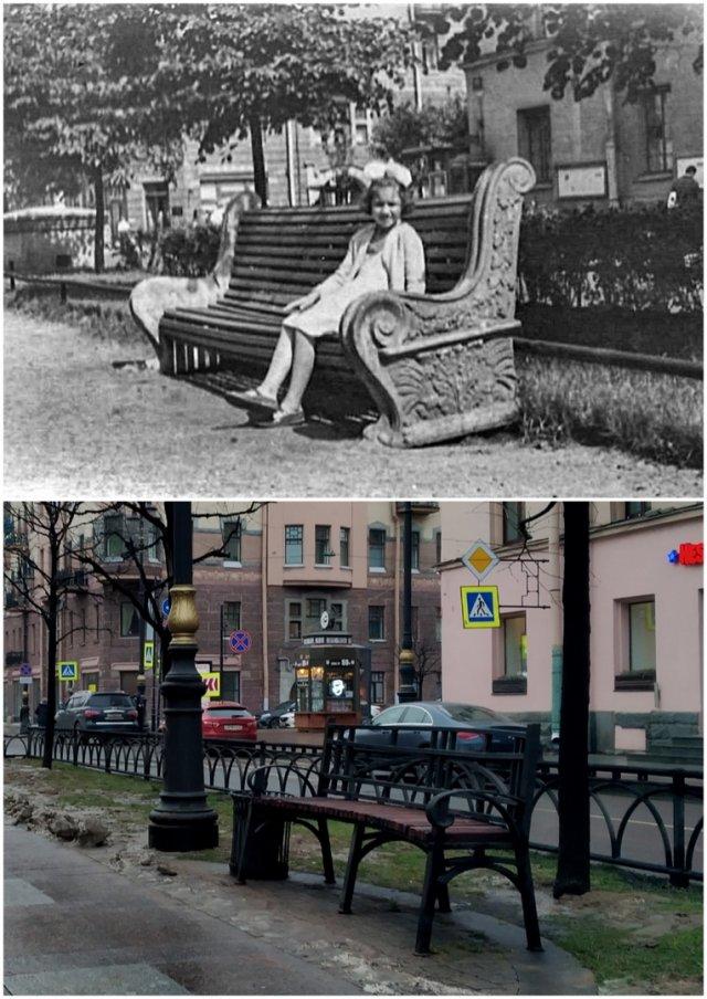 Перекрёсток проспекта Чернышевского и улицы Каляева (Захарьевской)1960 и 2020 год.
