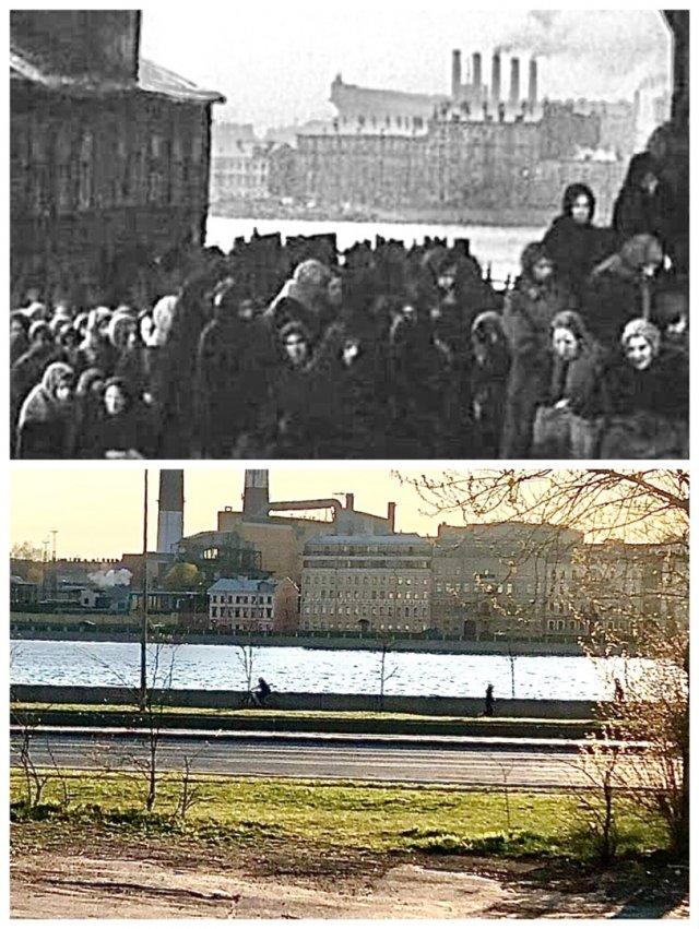 Вид с Малоохтинского проспекта на Синопскую набережную. Кадр из х/ф «Выборгская сторона».1938 и 2020 год.