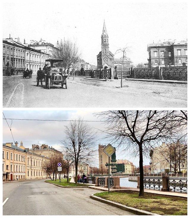 Реформаторская церковь. Большая Морская улица.1910 и 2020 год.