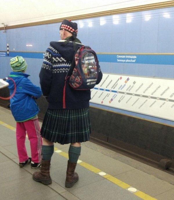 мужчина в шотландском наряде