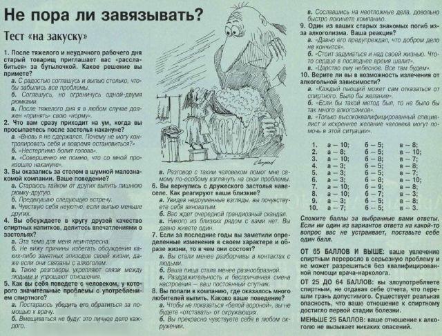 Тест на пристрастие к алкоголю, из журнала 1996 года.