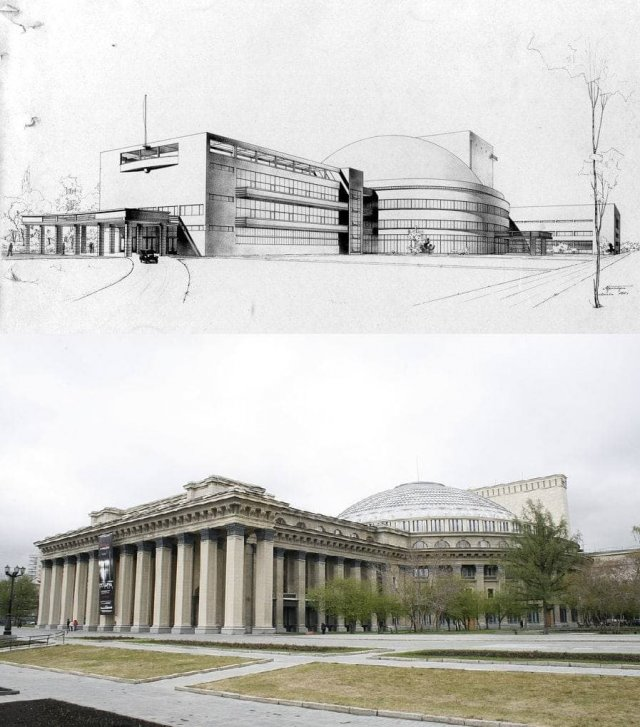 Новосибирский оперный театр начинали строить по лаконичному проекту 1931 года (вверху), а закончили сталинским «большим» стилем.