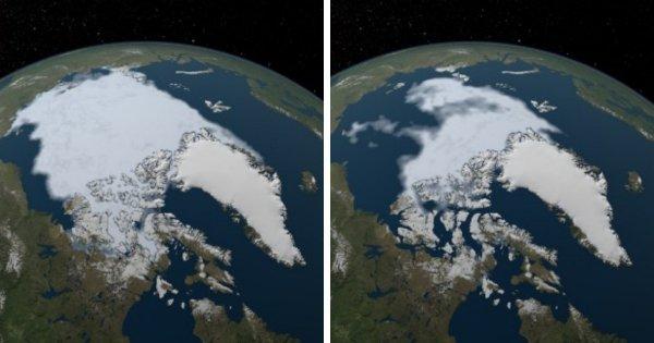 Площадь арктического морского льда достигла рекордно низкого уровня