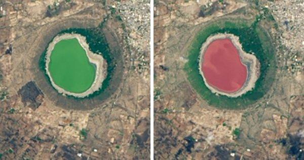 Озеро Лонар в Индии изменило цвет