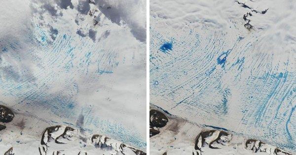 Появление рекордного количества резервуаров талой воды на шельфовом леднике Георга VI в Антарктиде