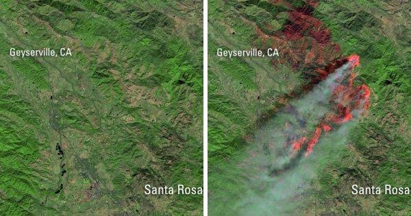 Как выглядят пожары в Калифорнии со спутника