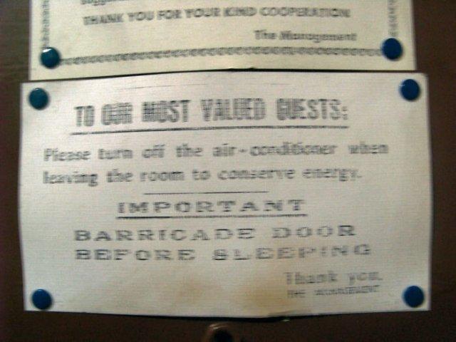 табличка в отеле