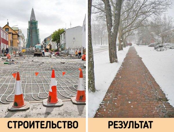 Подогрев тротуаров в Рейкьявике и Холланде позволяет им оставаться чистыми круглый год