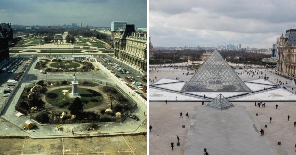 Музей Лувра в Париже до и после строительства пирамиды Лувра во дворе Наполеона