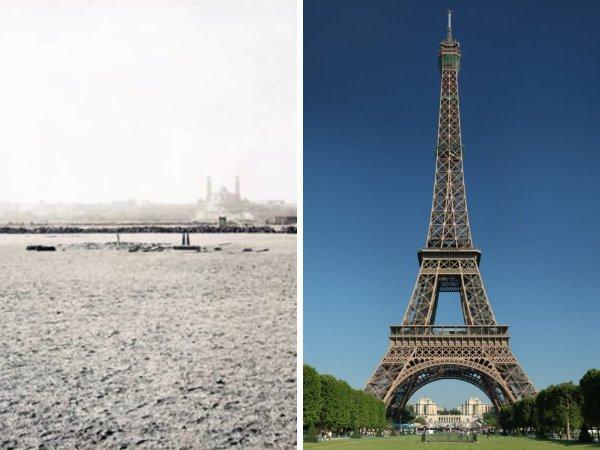 Марсово поле в Париже до и после строительства Эйфелевой башни