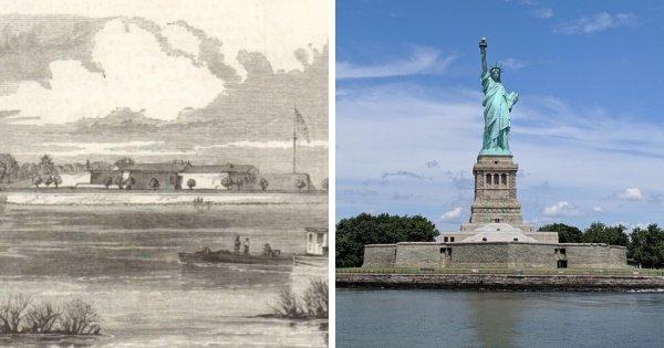 Остров Свободы (тогда остров Бедлоус) в Нью-Йорке до и после строительства статуи Свободы