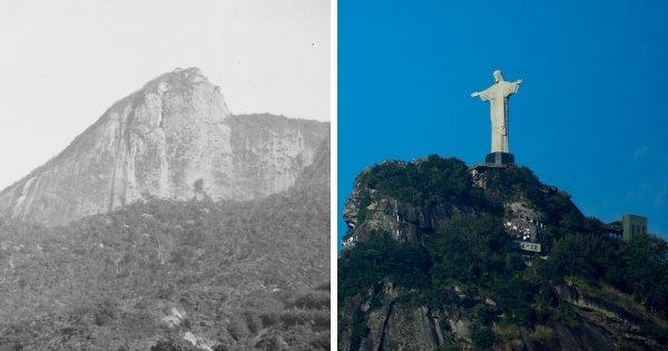 Гора Корковаду в Рио-де-Жанейро до и после строительства статуи Христа-Искупителя