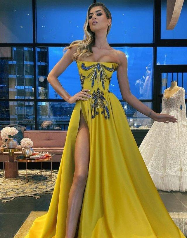 Платья с высокими разрезами. Часть 12