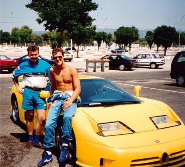 Михаэль Шумахер со своим Bugatti. 1991 год