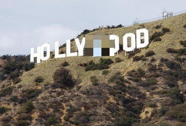 В Лос-Анджелесе пранкеры заменили надпись Hollywood на Hollyboob