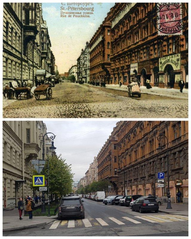 Пушкинская улица (вид с Кузнечного пер. в сторону Невского пр.) ~1910 и 2020