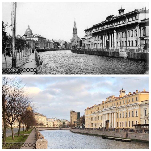 Река Мойка у Юсуповского дворца.1900 и 2020 год.