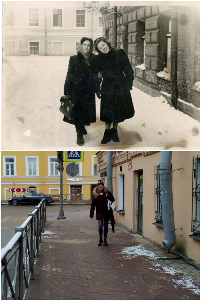 Перекрёсток улиц Рылеева и Радищева1954 и 2021 год