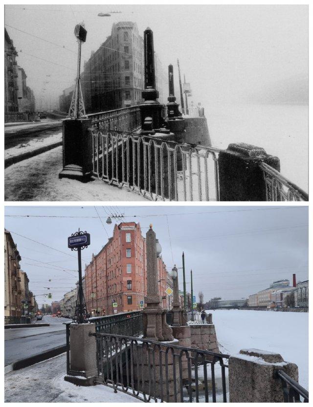"""Мало-Калинкин мост (""""Туман, иней"""")1996 и 2021"""