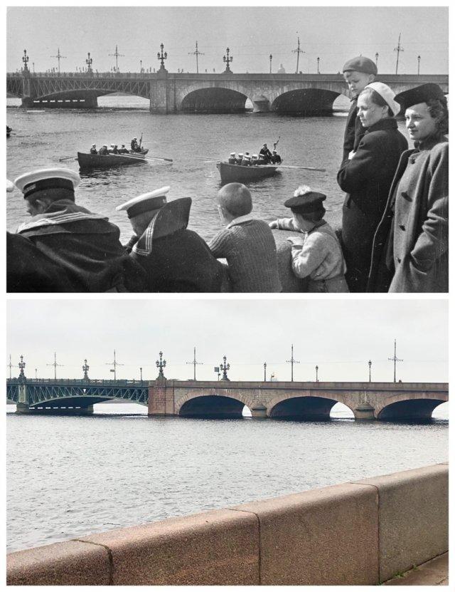 Кировский (Троицкий) мост.~1950 и 2020 год