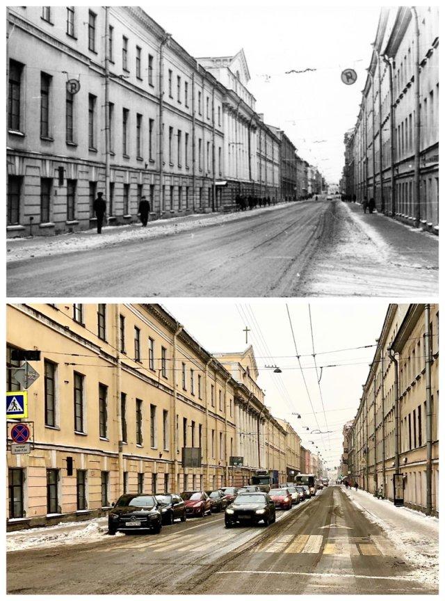 Улица Дзержинского / Гороховая улица.1977 и 2021 год,