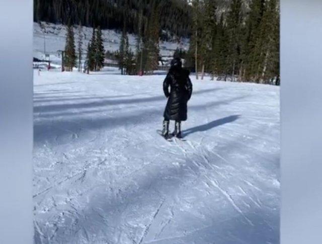 """""""Научил"""" жену кататься на лыжах"""