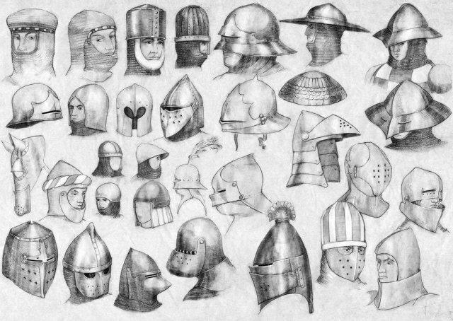Различные типы шлемов применявшихся в Европе эпохи Средневековья.