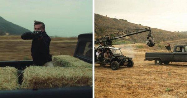 Съёмки сцены боевика с Риком Далтоном в фильме «Однажды в Голливуде» (2019)