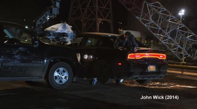 Съёмки сцены, в которой одна машина врезается в бок другой, из фильма «Джон Уик» (2014)