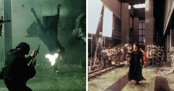 Обратная сторона перестрелки в вестибюле из Матрицы (1999)