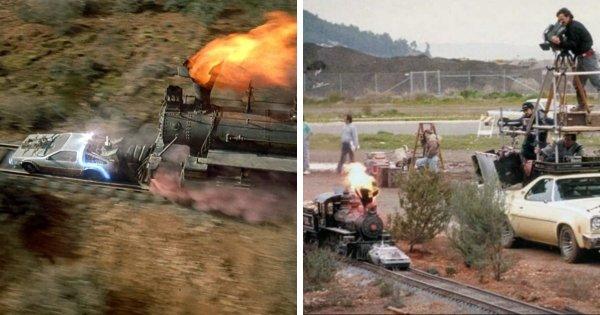 Использование миниатюры в сцене с поездом из «Назад в будущее 3» (1990)
