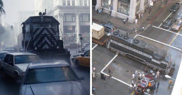 Для съёмок фильма «Начало» (2010) на городскую улицу действительно пригнали поезд