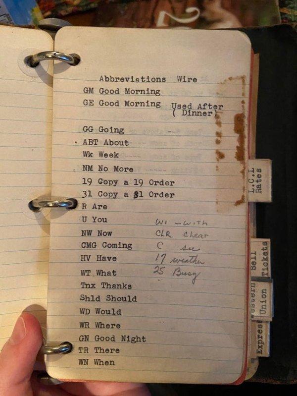 Аббревиатуры для телеграмм в записной книжке моего прадеда