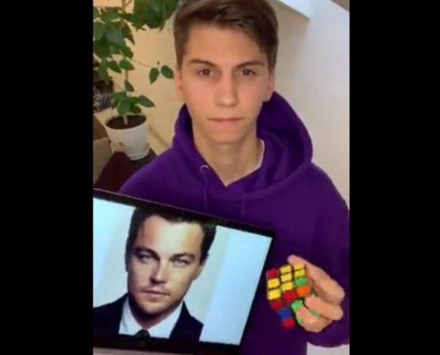 Парень собрал портрет Леонардо ДиКаприо из кубиков Рубика