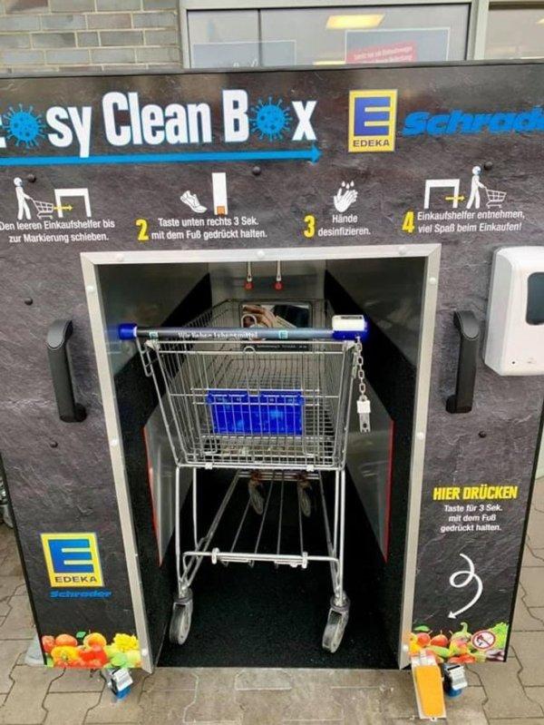 Специальная машина для мытья продуктовых тележек