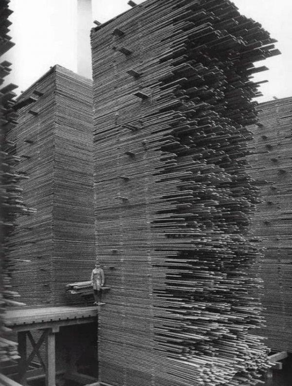 Гора древесины. Складывалась и разбиралась вручную. Сиэтл, 1919 год