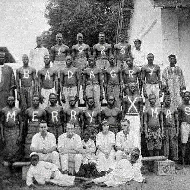 Рождественская вечеринка в городе Бадагри, Лагос, Нигерия, 1923 год.