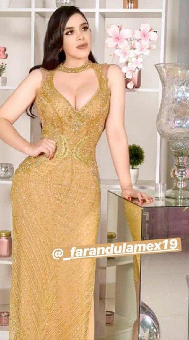Эмма Айспуро, жена мексиканского наркобарона El Chapo (Коротышка) в золотом платье