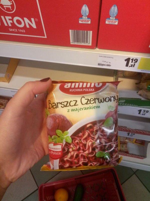 В Польше можно встретить лапшу быстрого приготовления со вкусом борща