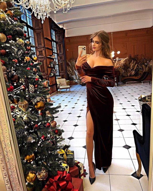 Алина Санько в коричневом платье