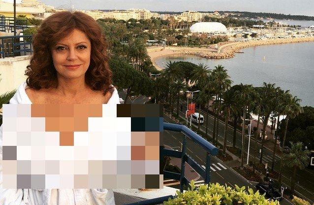 Актриса Сьюзан Сарандон в белом халате в Каннах