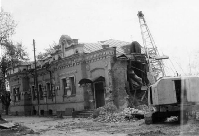 Снос дома Ипатьева, где убили семью Романовых, Свердловск (Екатеринбург), 1977 год.
