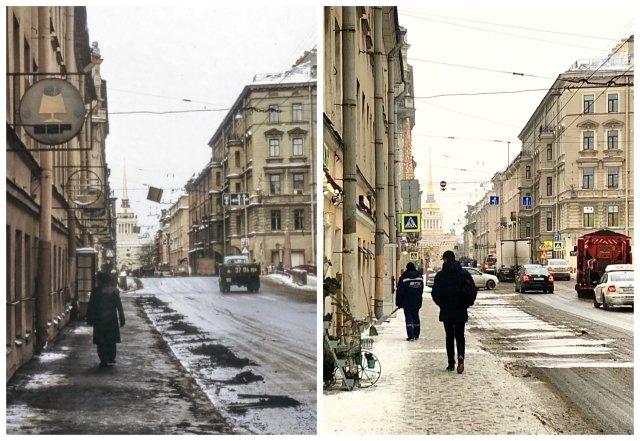 Улица Дзержинского / Гороховая улица.1988 и 2021 год.