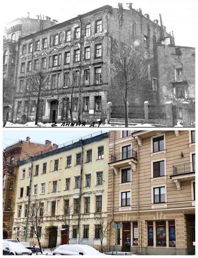 2-я линия В.О., дом 7.1956 и 2021 год.