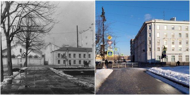 Перекрёсток Потёмкинской улицы и улицы Воинова (Шпалерной)1978 и 2021 годы